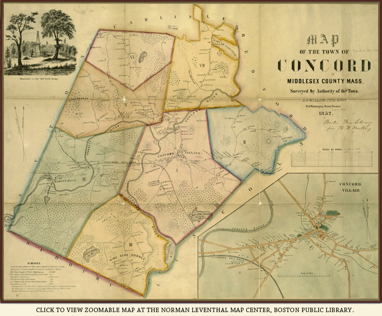 Concord Massachusetts Mapping Thoreau Country - Concord usa map