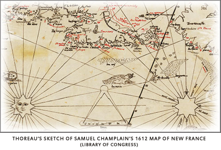 Thoreau's sketch of Champlain's map of New France