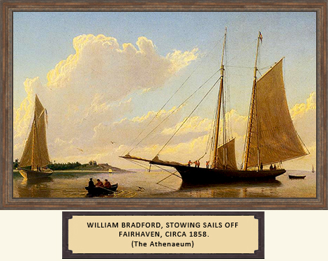 William Bradford, Stowing Sails off Fairhaven, 1858