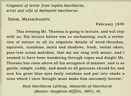 Sophia Peabody Hawthorne on Thoreau's first Walden lecture