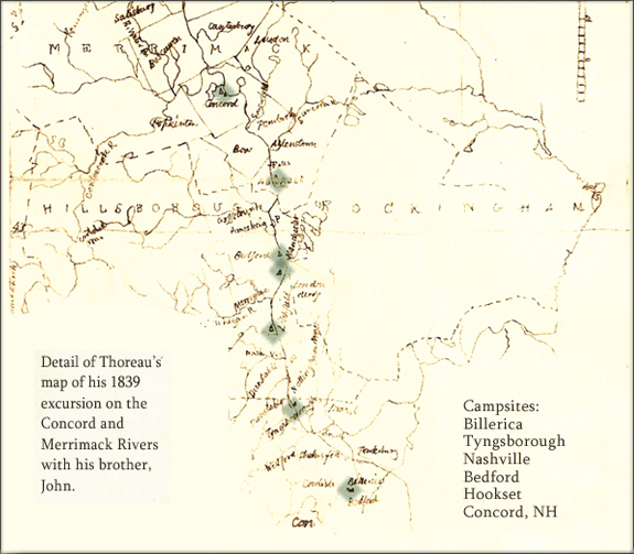 Thoreau's map of his trip on the Concord and Merrimack Rivers (MA & NH)