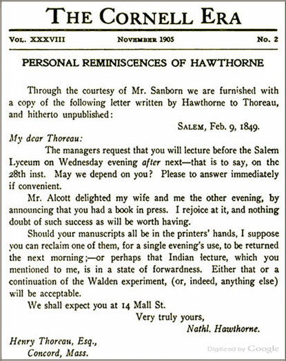 Hawthorne letter to Thoreau, 1849