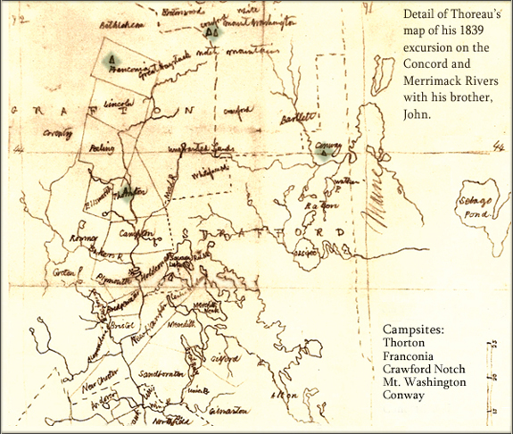 Thoreau's map of his trip on the Concord and Merrimack Rivers (NH)