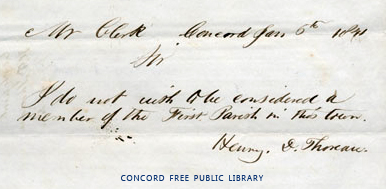 Thoreau's sign-off from First Parish