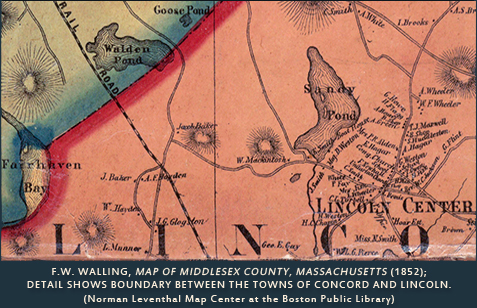 Walling map of Middlesex County, Lincoln, Concord boundary, 1852