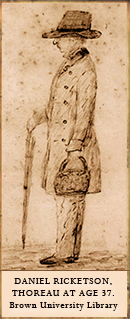 Ricketson's sketch of Thoreau at age 37.