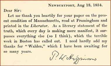 T.W. Higginson, letter to Thoreau re Slavery in Massachusetts and Walden