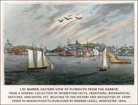 Plymouth Harbor, J.W. Barber, 1844