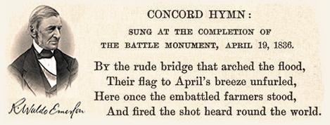 Concord Hymn by R.W. Emerson, 1836