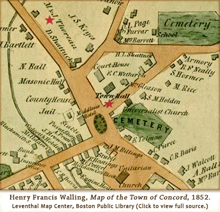 H.F. Walling, Map of the Town of Concord, 1852, detail